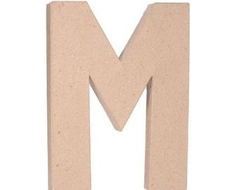 Paper Mache Letter - M - 12 inches,Embellishment Letter,Cardboard letter, Alphabet Décor