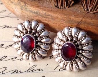 Vintage Garnet and Sterling Silver Etruscan Post Earrings, 1940-50s.