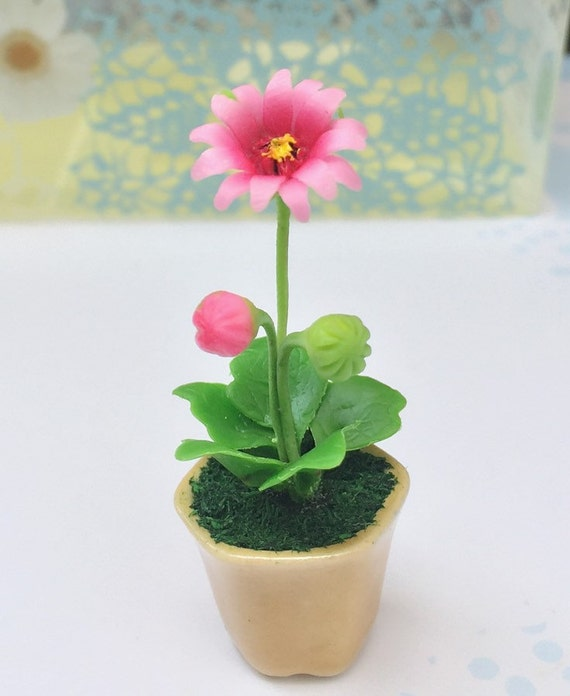 Miniature Flower,Miniature Flower Pot,Miniature Gerbera,Dollhouse Flower,Miniature Garden,Dollhouse Gerbera