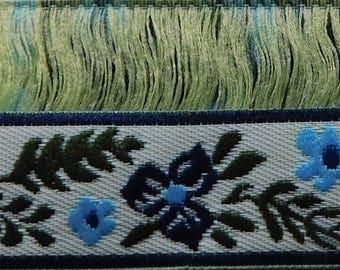 """Vintage Woven Jacquard Ribbon Trim Tape~multi~Cream-Blue~Green~Blue-9/16"""""""
