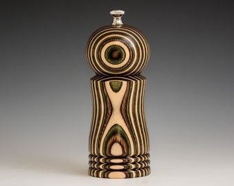 """Colorful, Handmade 6"""" Peppermill - Laminated natural birch, brown and olive"""