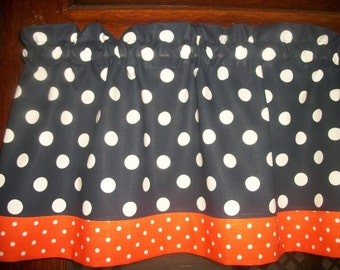 Navy Blue Orange Polka Dot fabric window curtain topper Valance