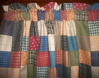 Country Farm House Kitchen Patchwork Check Plaid Homespun Fabric Curtain Valance
