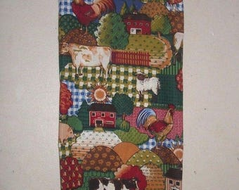 Cow Rooster Chicken Country Farm Plastic Grocery Bag fabric rag Storage Holder