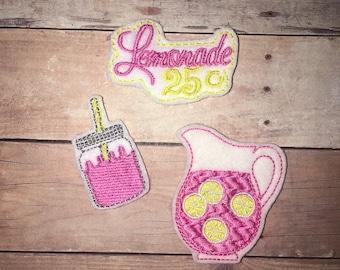 Set of 3 Lemonade Felties Pink Yellow Lemonade Pitcher Lemon Mason Jar Glitter Feltie Planner Clip Bow Birthday Party Baby Shower Decoration
