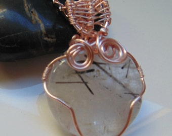 Rutilated Quartz Rose Gold Wire Wrapped Necklace ~ Gemstone Crystal Healing ~ Hand Crafted Ooak Valentines Gift