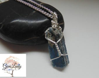 Blue Kyanite Raw Wire Wrapped Silver Necklace ~ Gemstone Crystal Healing ~ Hand Crafted Ooak