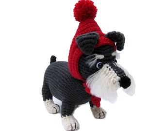 corchet doll,schnauzer,puppy,dog,handmade,made to order