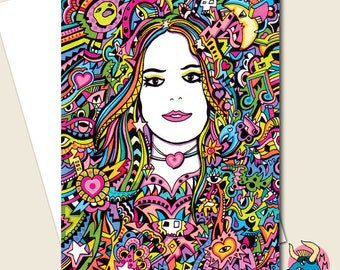 Birthday Card, Greeting Card, Psychedelic Card, Card For Her, Girlfriend Card, Card For Teen Girls, Hippie Card, Valentines Card, Art Card.