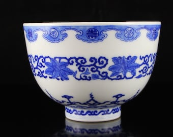 N3489 Chinese Qing Dynasty Blue And White Porcelain Bowl w Kang Xi Mark