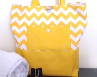 Yellow chevrons tote bag