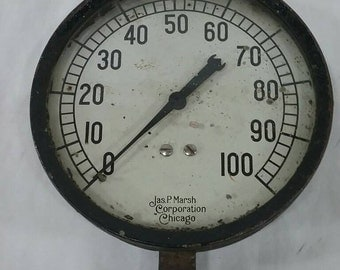 Vintage Jas p marsh chicago steam pressure gauge steampunk art industrial decor 0-100