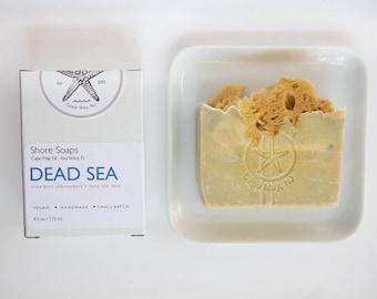 DEAD SEA Soap // Spa Bar  // Made with Essential Oils / /Dead Sea Mud // Exfoliating Sea Sponge // Lemongrass // Detox // Gifts Under 10