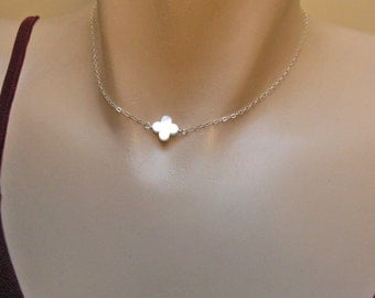 Clover Necklace, 14k Gold Fill or 925 Sterling Silver, White MOP Clover Necklace, Bridesmaid Gift, Four Leaf Clover Necklace, Lucky Jewelry