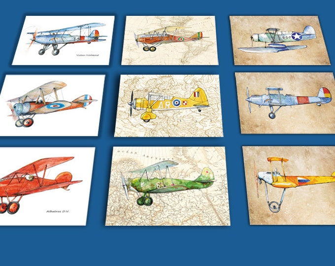 Airplane decor ANY set of 9 prints Vintage prop driven airplane watercolor Retro military aircraft poster Boy's nursery wall art