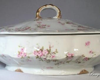 Theodore Haviland Limoges Pink/White Roses Schleiger 149, Blank 118, Covered Casserole Dish
