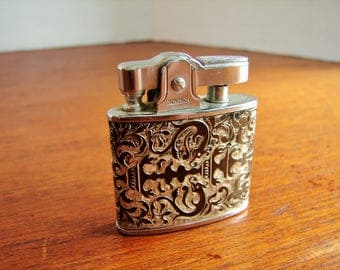1970's Monarch Stamped Metal Lighter, Gold Toned Ornate Design, Dragons & Vines Design, Jutan Importers Toronto, Made In Japan, Wick Unused