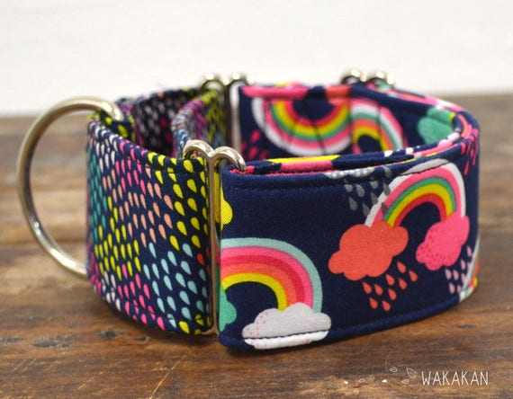 Martingale Rainy Day dog collar adjustable. Handmade with 100% cotton fabric. Rainbow pattern. colorful design. Greyhound Wakakan
