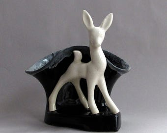 Art Deco Ceramic Black White Deer Planter/Vase