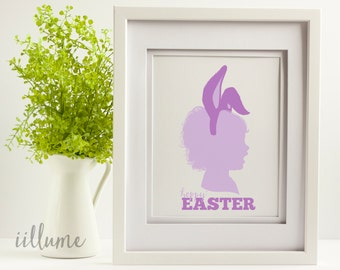 Custom Easter Silhouette Profile with Bunny Ears, Personalized Easter Portrait, Holiday Decor, Easter Print, Custom Silhouette art for Kids