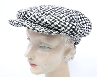 1960's Houndstooth Wool Newsboy Cap Hat