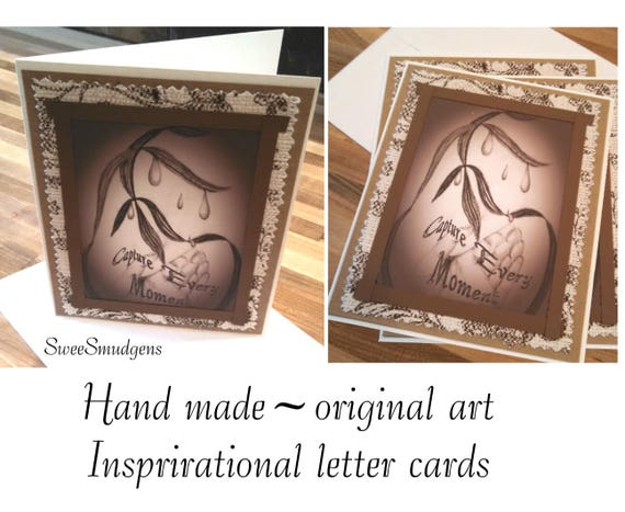 Inspirational letter cards vintage look art prints pencil charcoal drawing hand made cards art cards original designs antique sepia tones