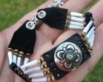 Native Indian Vintage Navajo sterling silver bracelet dentalium shells Buffalo leather bones  tribal western cowgirl musician shaman style