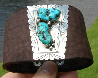Ketoh Bison leather Bracelet Sterling Silver by Native Indian Navajo signed Dabbs customize to wrist size authentic cuff wristband turquoise