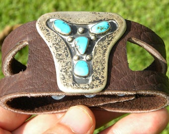 Ketoh Bracelet Vintage  Sterling Silver Turquoise Native Indian Navajo handcrafted cuff wristband authentic genuine Buffalo Bison leather