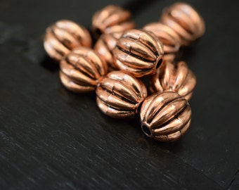 17mm Vintage Copper Acrylic Fluted Round Beads, 10pcs