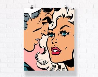 Couple - Comic Book Panel. Romantic Pop Art Vector Print. Customizable Wall Art