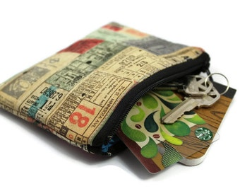 Coin Purse - Coin Bag - Change Purse - Small Cosmetic Bag - Zipper Pouch - Change Pouch in Eclectic Elements