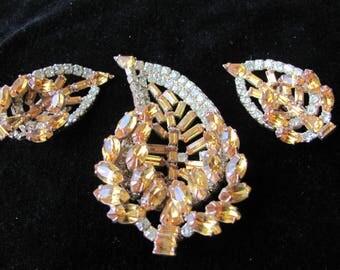 Kramer Rhinestone Leaf pin and earrings