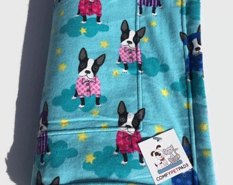Boston Terrier Blanket, Dog Blanket, Dog Throw, Toddler Nap Blanket, Nursery Decor, Boston Puppies, Dogs in Pajamas, Boston Terrier Baby