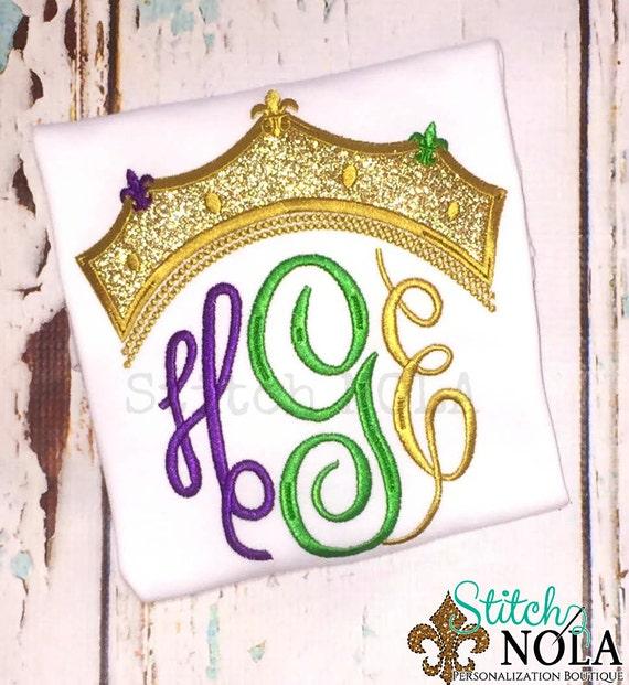Mardi Gras Crown Monogram Applique, Mardi Gras Shirt, Gown or Bodysuit, Queen Crown, Queen Monogram, Crown Monogram, Mardi Gras Monogram
