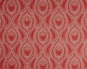 Designer Red Drapery or Upholstery Fabric by the Yard Contemporary Cotton Geometric Fabric Home Decor Fabric Red Decorating Fabric C756