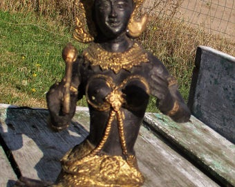 Statuette Figurine Buddha Ornate Brass Lovely Kneeling Buddha Temple Gold Black