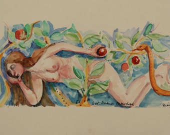 Eve, in the Garden of Eden, brown Serpent, Original Watercolour Painting, On Cream Mount Board, Small Painting, Ready to Frame, 9 x 7 inches