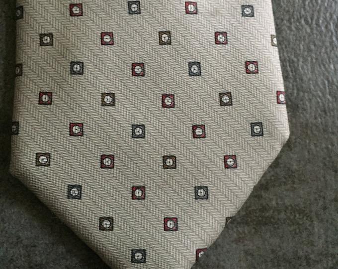 Vintage Estate AUTHENTIC Lanvin Grey Blue Purple Square Print Tie