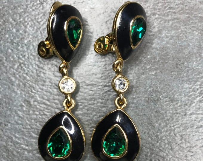 Vintage Estate Monet Gold Tone Black Enamel Green Jewel Dangle Clip On Earring