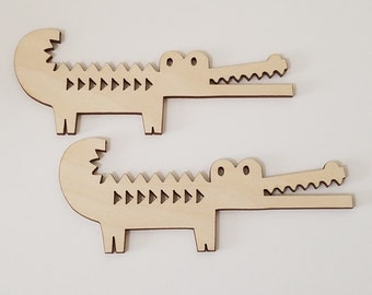 Set of 6 Wooden Alligator Cut Outs ( Embellishments, Scrap Booking, Decoupage)