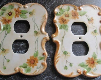 Pair of Handpainted Porcelain Outlet Covers Floral Design