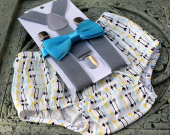 1st Birthday boy cake smash bow tie suspenders outfit 12 mo yellow blue yellow, boy outfit,bloomers,diaper cover