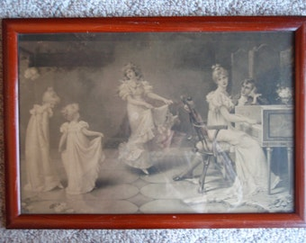 Vintage Antique Picture Print Victorian Age Woman Man Watching Dancing Children Collectibe Wall Art Hanging Home and Living décor B252