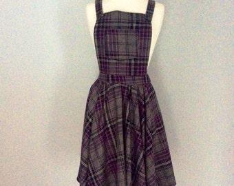 Grey & purple plaid tartan check dungaree dress