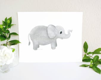 Elephant Nursery Decor,  Baby Elephant Print, Elephant Art Print, Jungle Nursery, Zoo Nursery, Zoo Art, Safari Nursery Prints, Baby Room Art