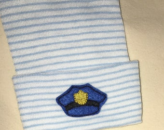 NEWBORN Hospital Hat. Newborn Hospital Beanie.  Baby Boy Hat with POLICE Hat.  Great Gift.