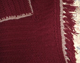 Burgundy Crochet Baby Throw Blanket And Pillow Cover