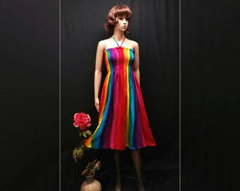 Rainbow Women Summer Dress, Gay Color, Boho Hippie Gypsy Convertible Straps Dress Skirt, Gay Festival Dress, Gay Pride, Capital Pride, LGBT