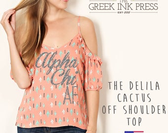 "The Delila ""Alpha Chi AF"" Luxe Glitter Cactus Print Off-Shoulder Top"
